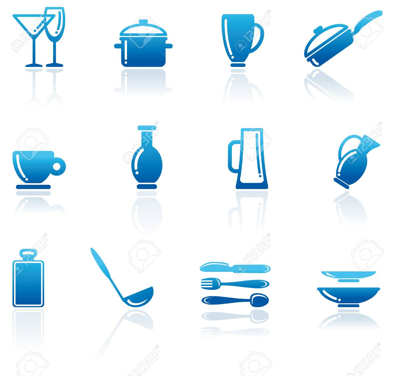 Shining icons of kitchen ware Stock Vector - 6636136
