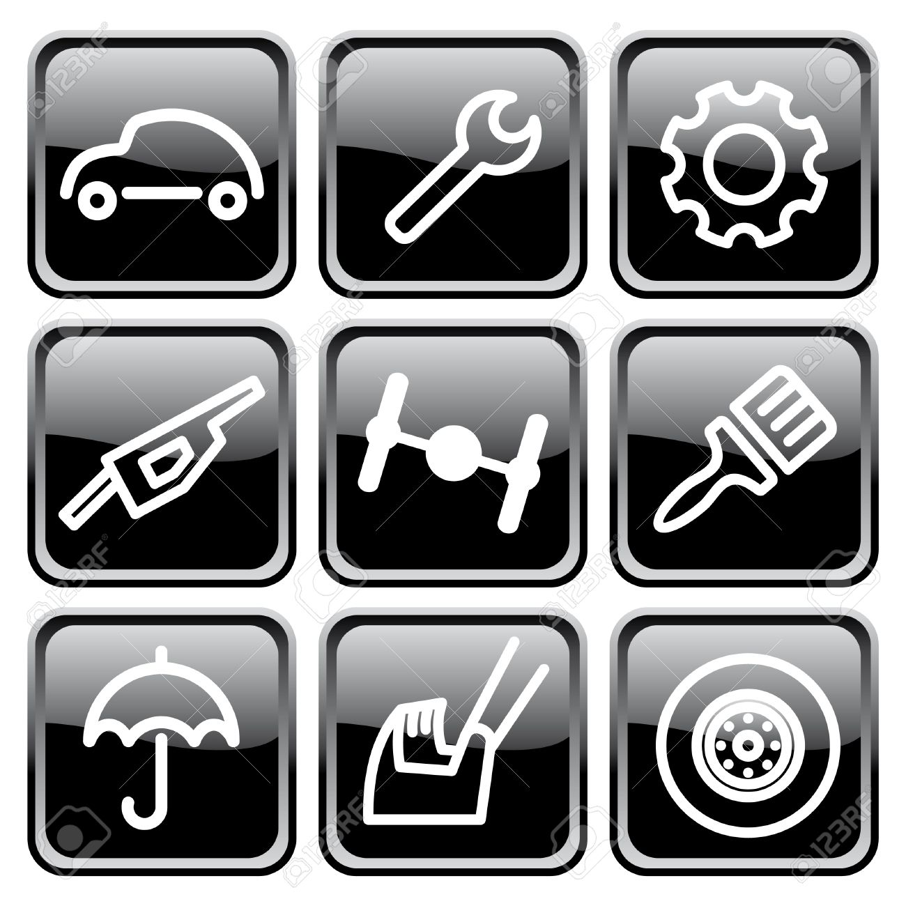 Cars spare parts and service icons Stock Vector - 6636310
