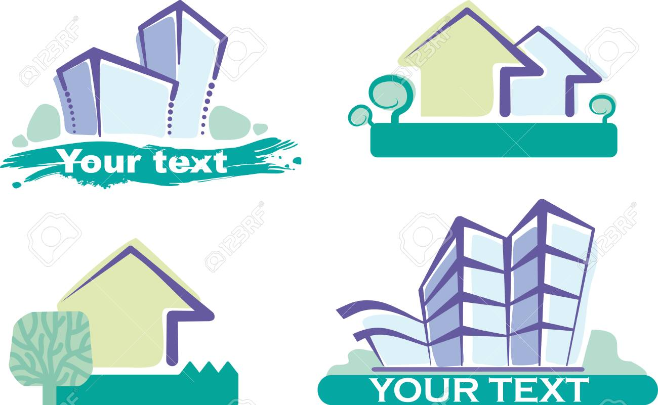 Set of four building icons Stock Vector - 6636373