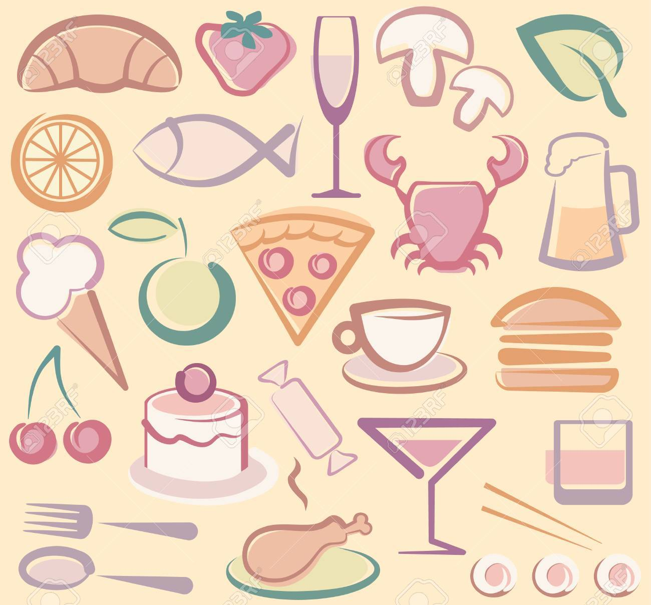Food icons Stock Vector - 6636400