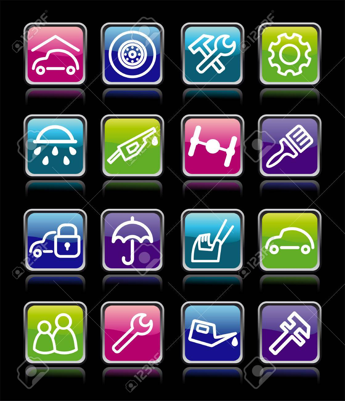 Cars spare parts and service buttons Stock Vector - 8008557