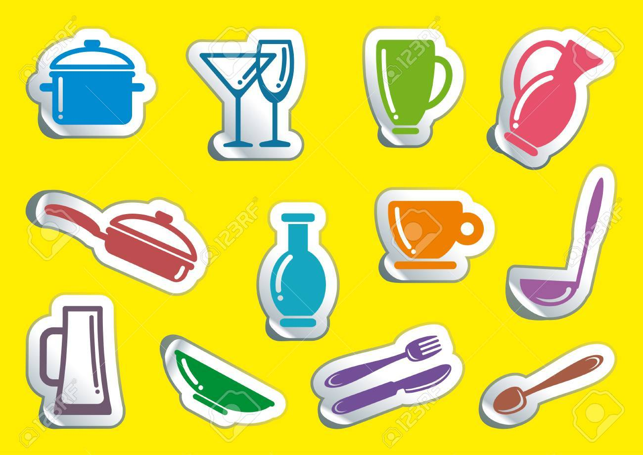 Symbols of kitchen ware on stickers Stock Vector - 8200282