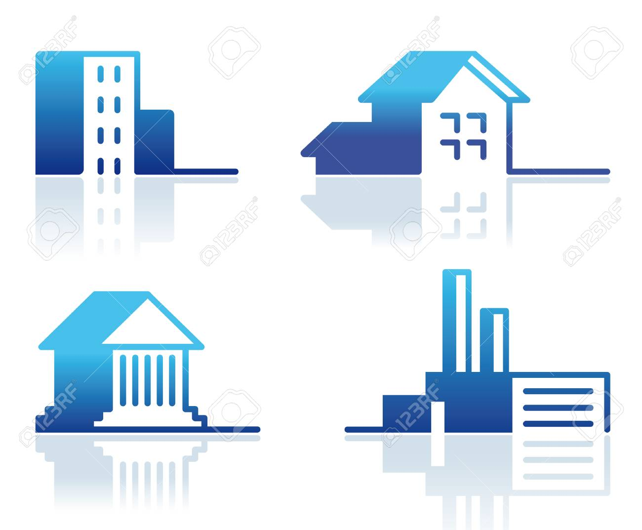 Buildings - Icon Set Stock Vector - 8388000
