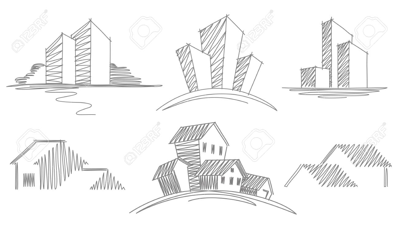 sketches of buildings royalty free cliparts vectors and stock