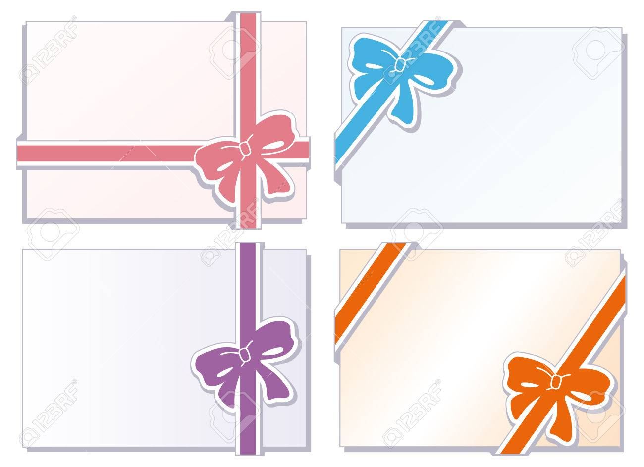 Collection of  bows with greeting cards Stock Vector - 8978433
