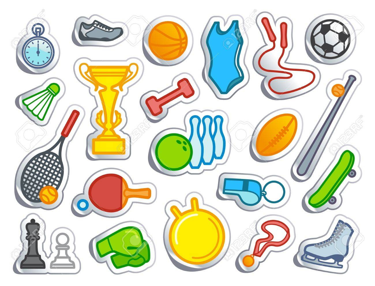 Simple sports icons in the form of stickers stock vector 12858324