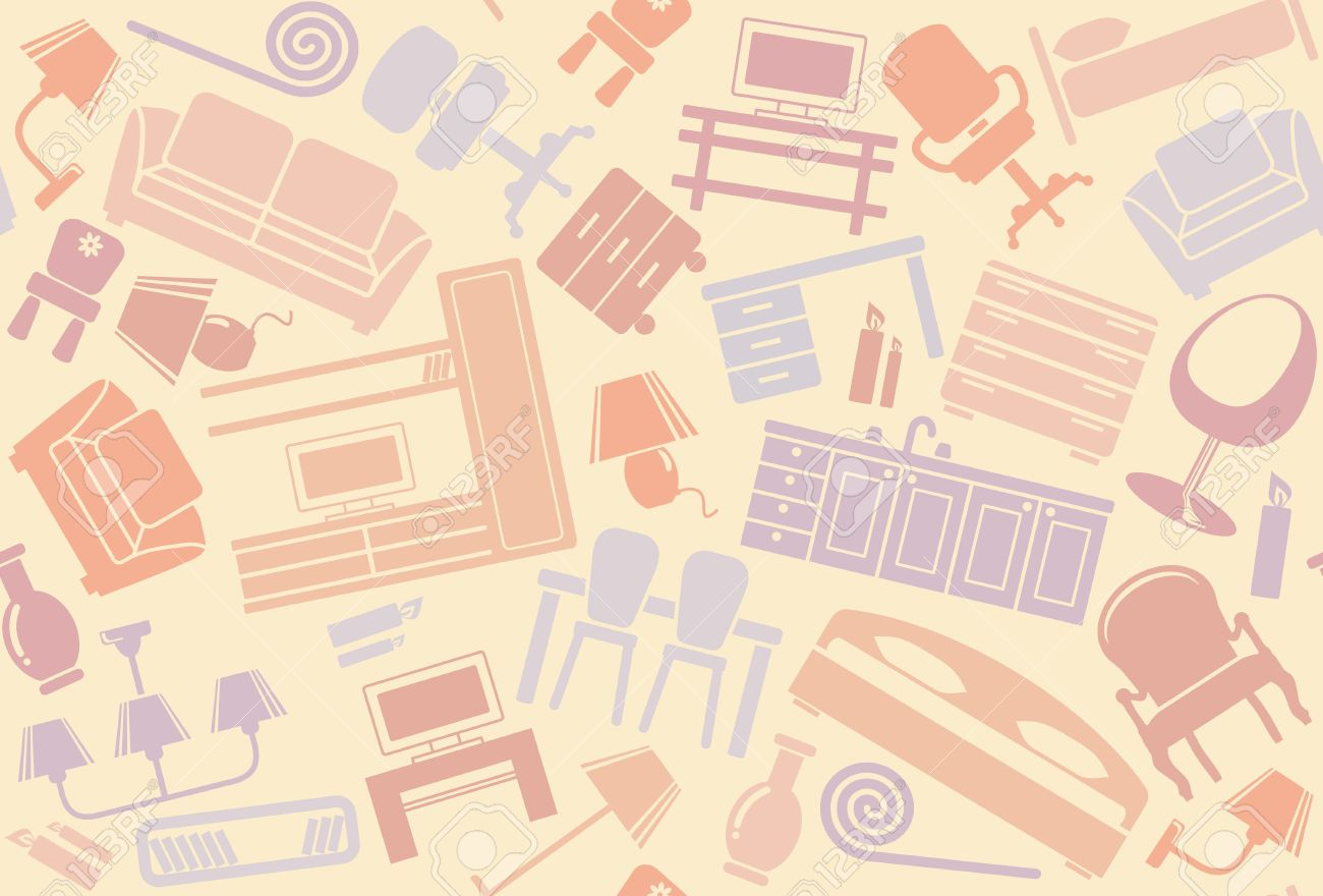 Seamless Furniture Background Royalty Free Cliparts Vectors And
