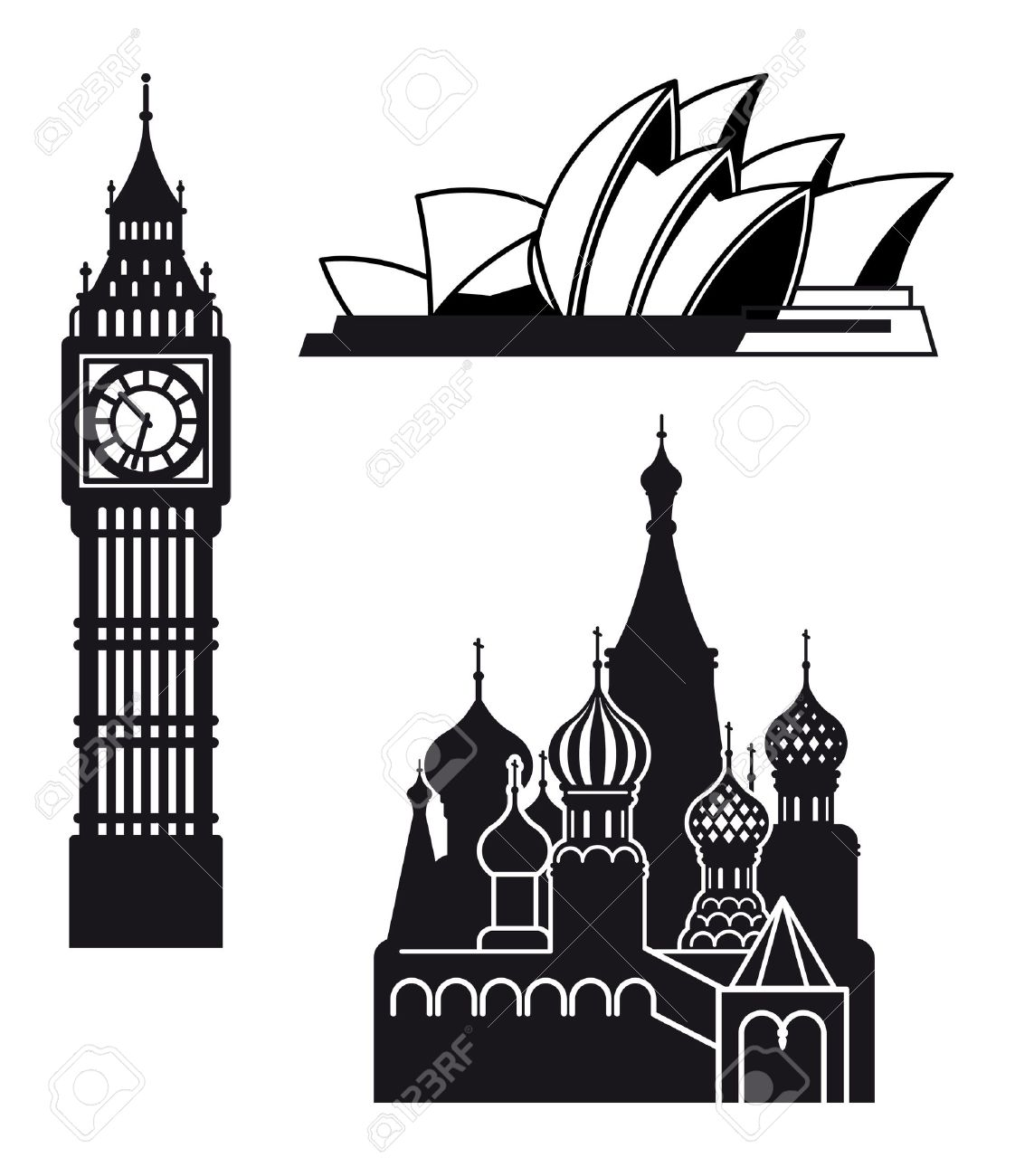 Sydney London and Moscow icons Stock Vector - 13008114