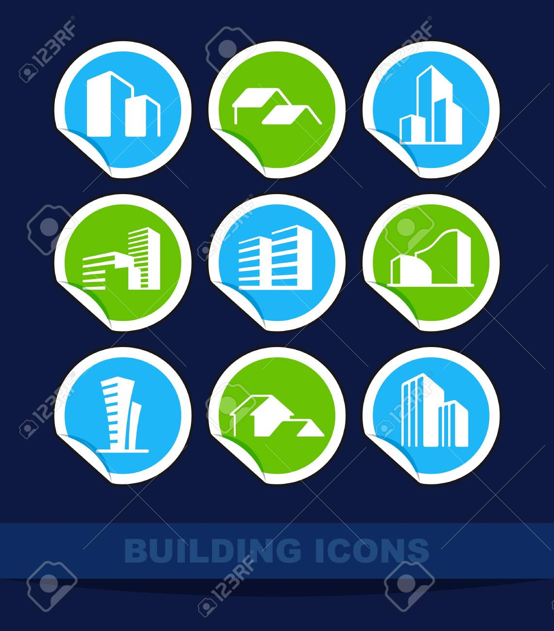 Simple symbols of real estate on stickers Stock Vector - 13905735