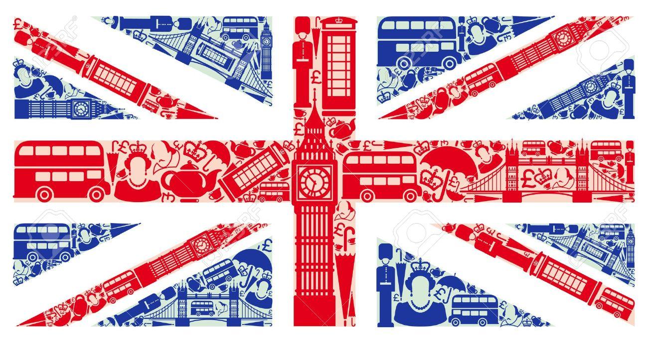 Drapeau De L'Angleterre à Partir De Symboles Du Royaume-Uni Et Londres Clip Art Libres De Droits , Vecteurs Et Illustration. Image 15066959.