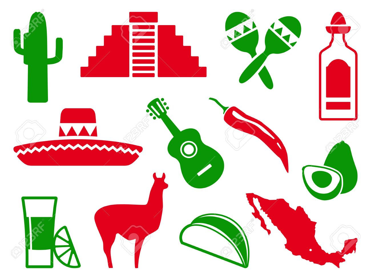 Mexican Icon Set Royalty Free Cliparts Vectors And Stock