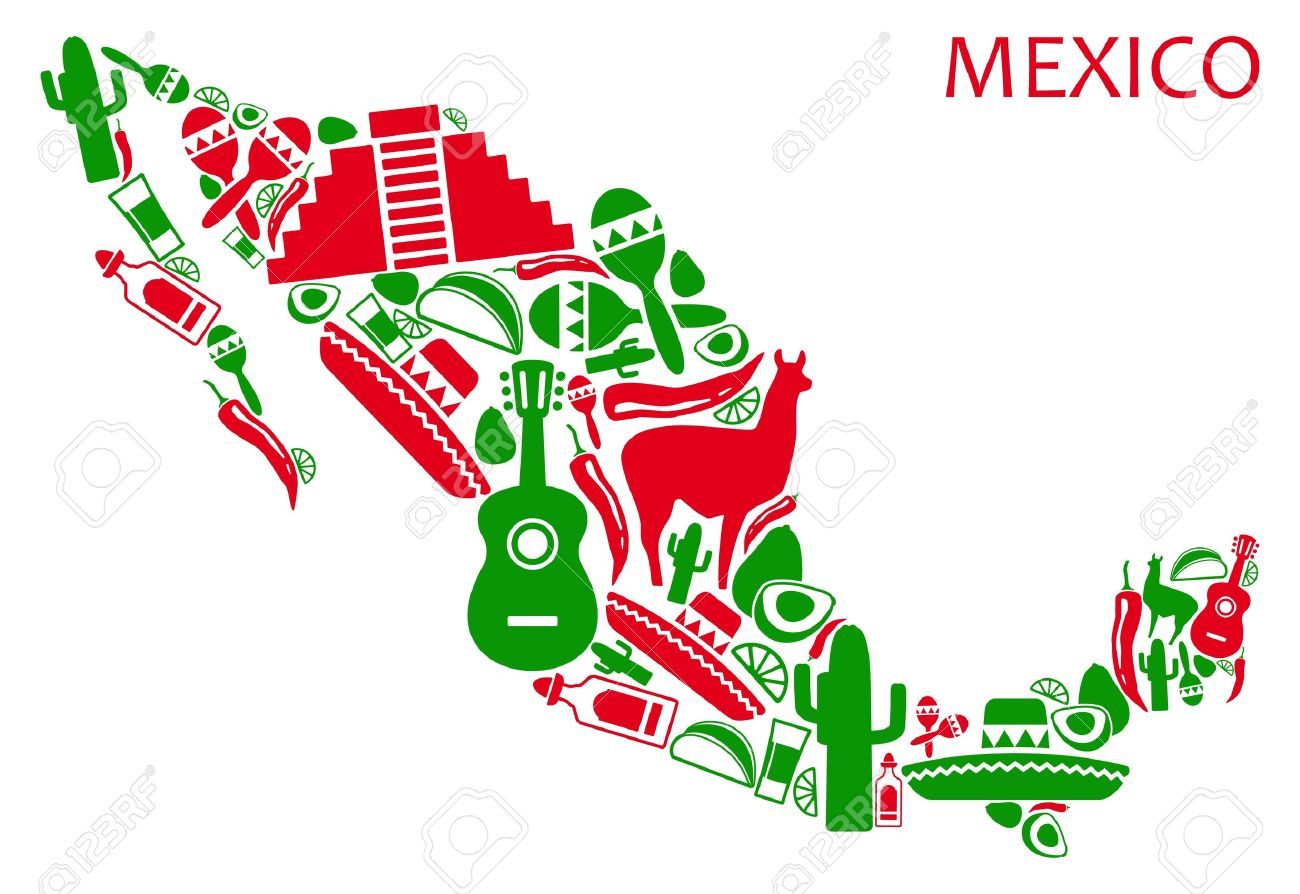 Map Of Mexico From National Symbols Royalty Free Cliparts Vectors