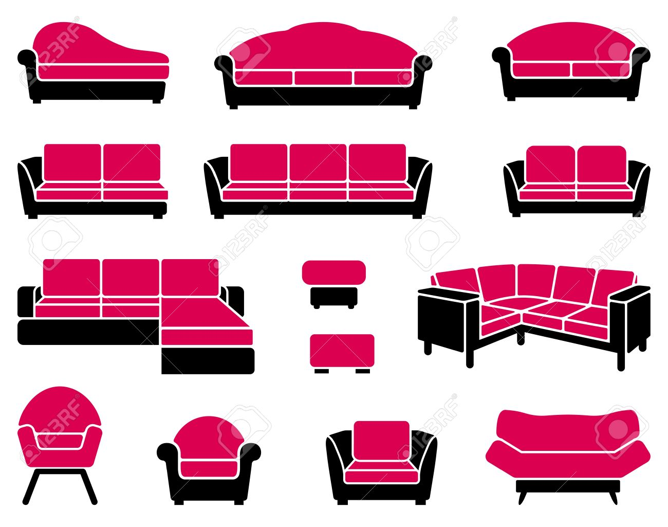 Armchairs and sofas Stock Vector - 16456899