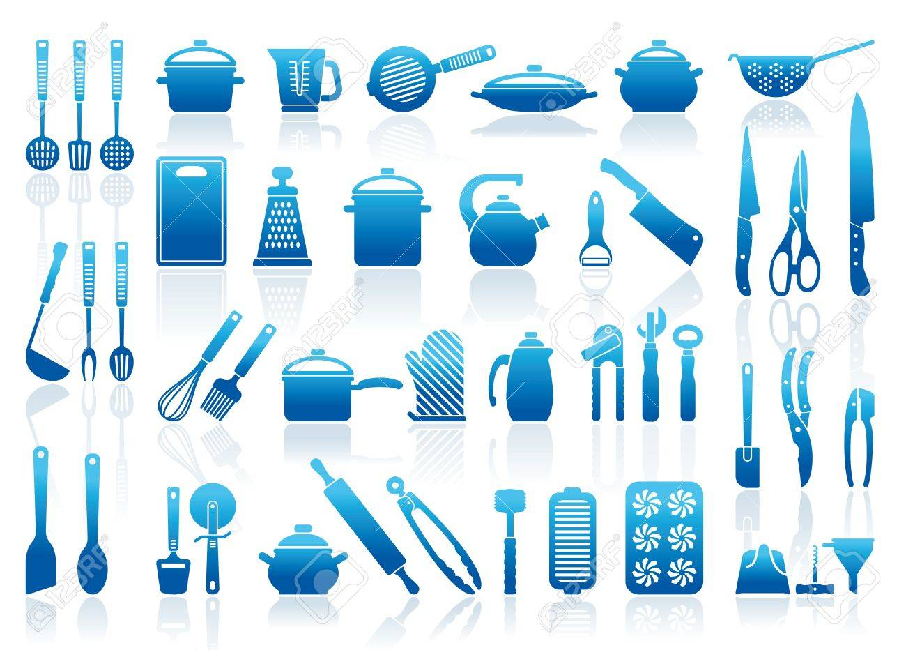 Icons of kitchen ware, utensils and tools Stock Vector - 17921882