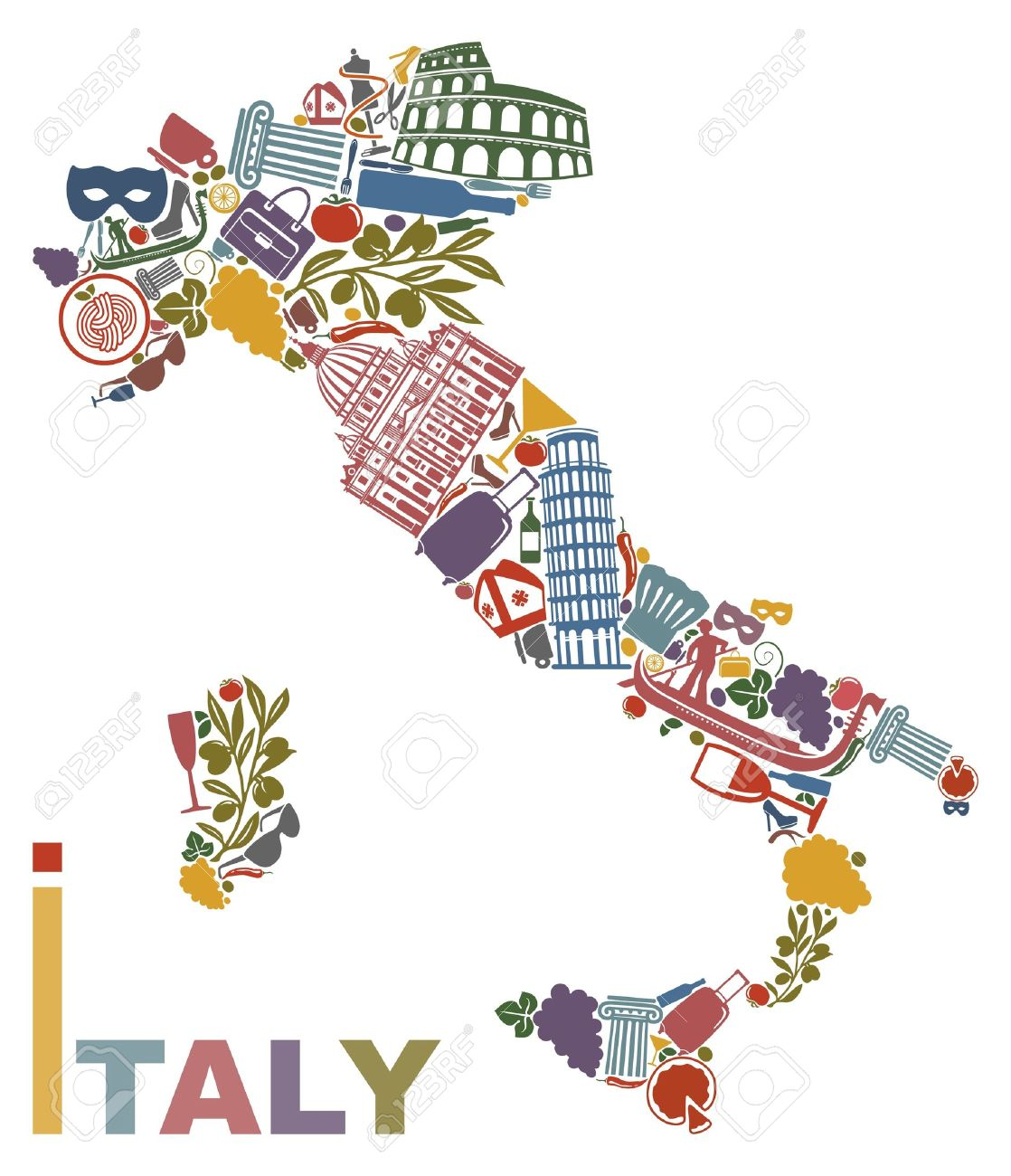 Traditional Symbols Of Italy In The Form Of A Map Royalty Free