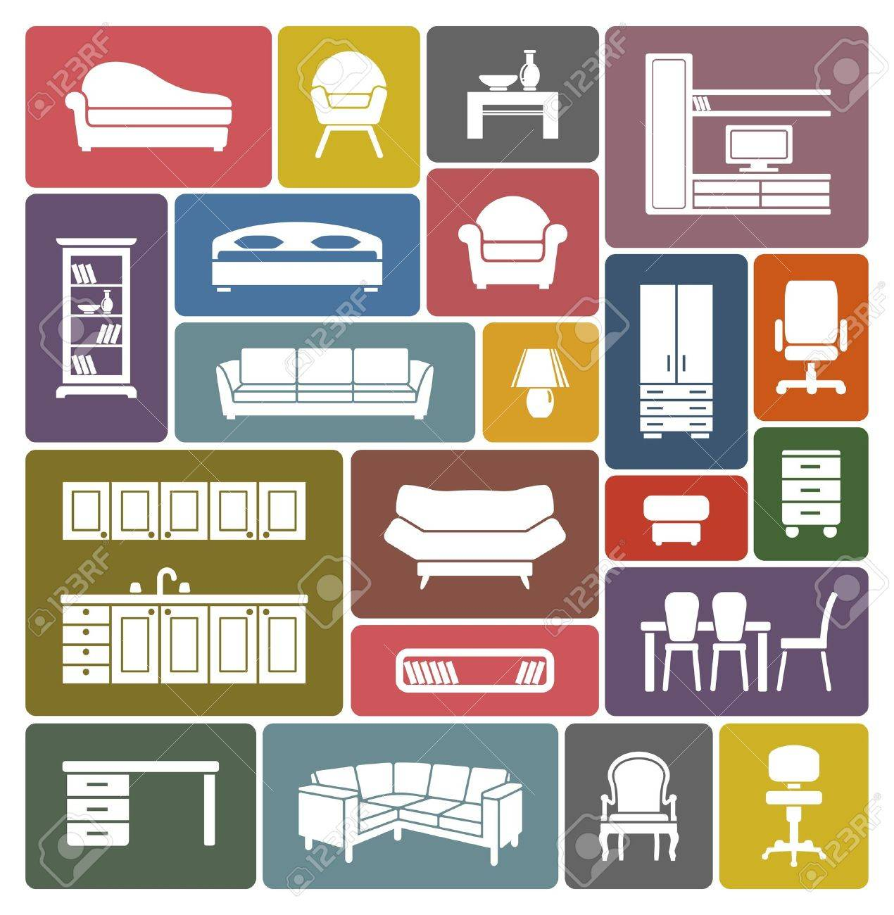 Furniture icon set Stock Vector - 18499084