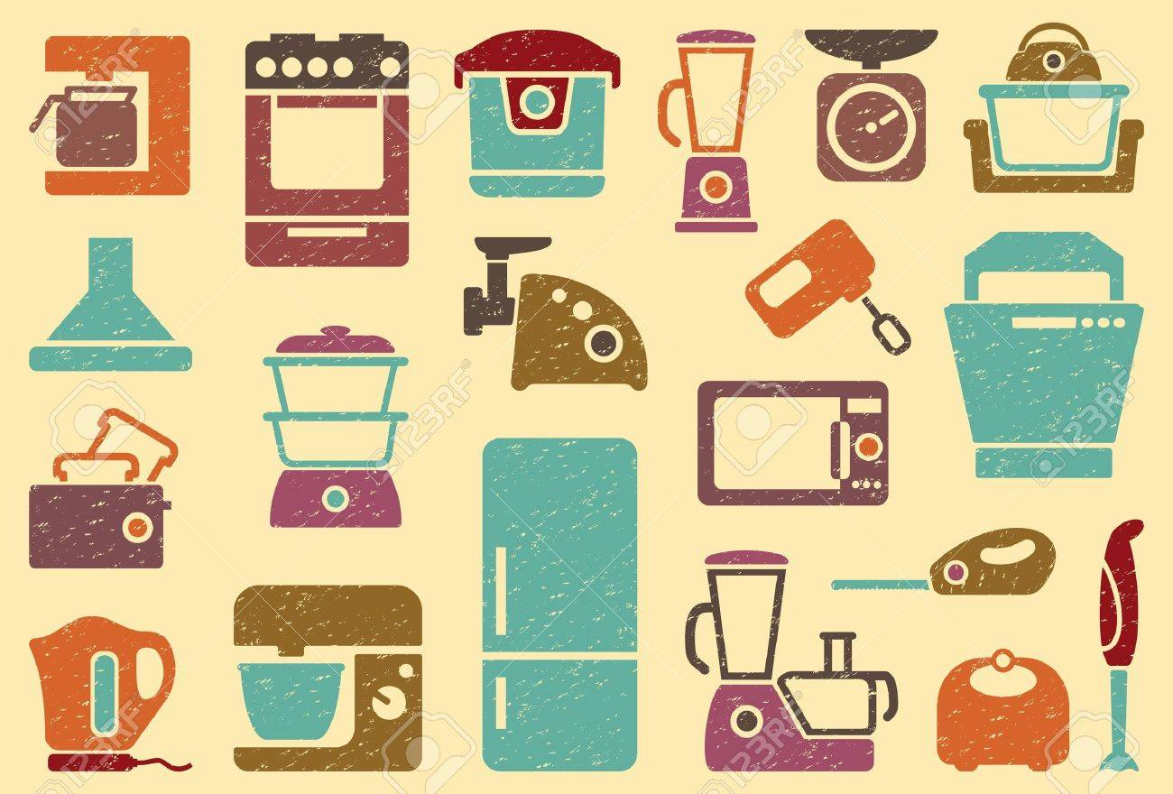 Seamless background from icons of kitchen home appliances Stock Vector - 19054020