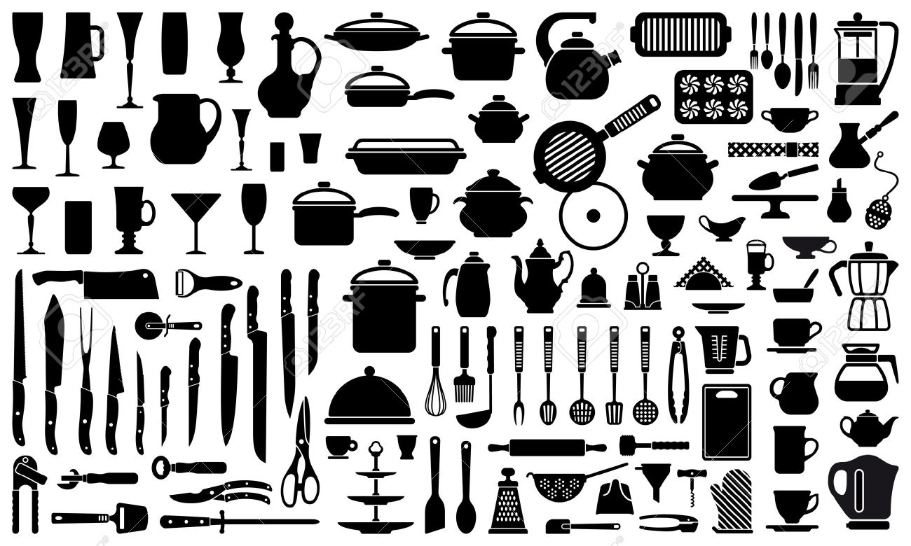 Silhouettes Of Kitchen Ware And Utensils Royalty Free Cliparts ...