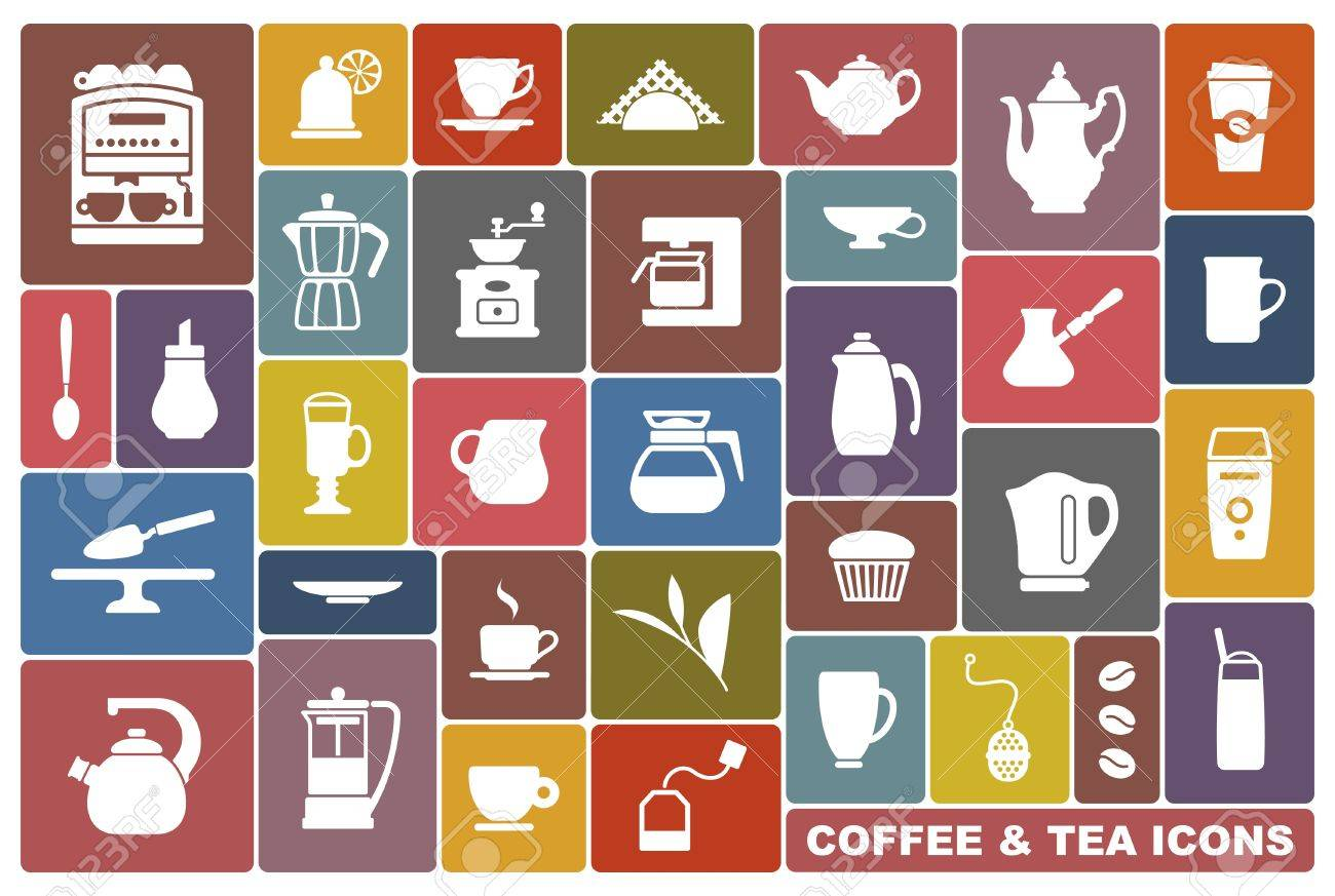 Icons of tea and coffee Stock Vector - 20172237