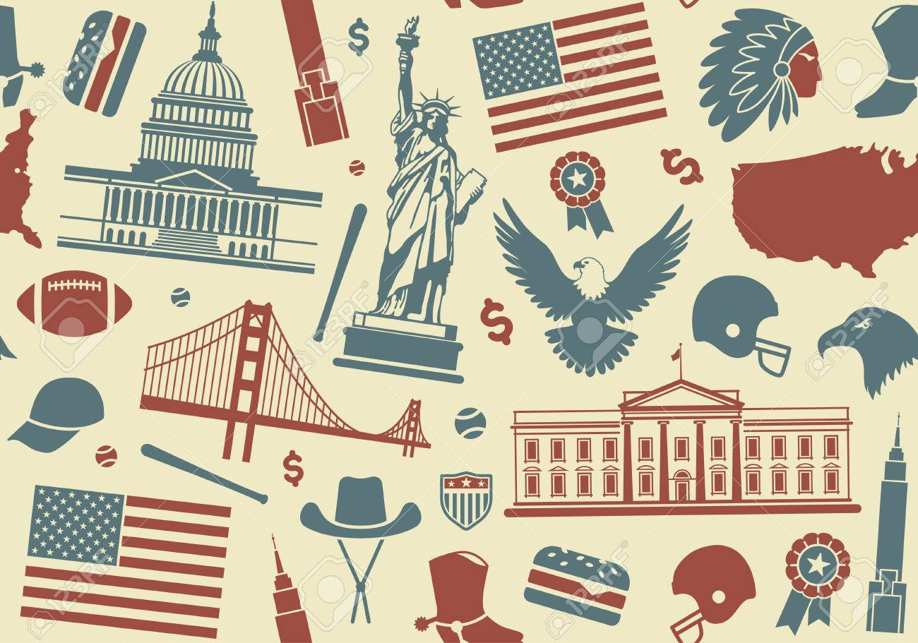 Seamless Background With Symbols Of The Usa Royalty Free Cliparts