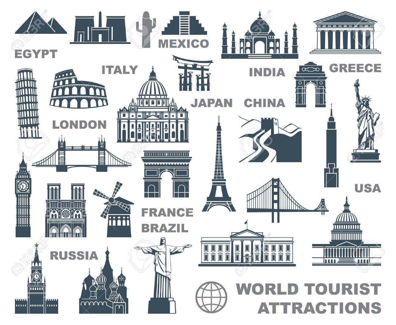 Icons World Tourist Attractions Stock Vector