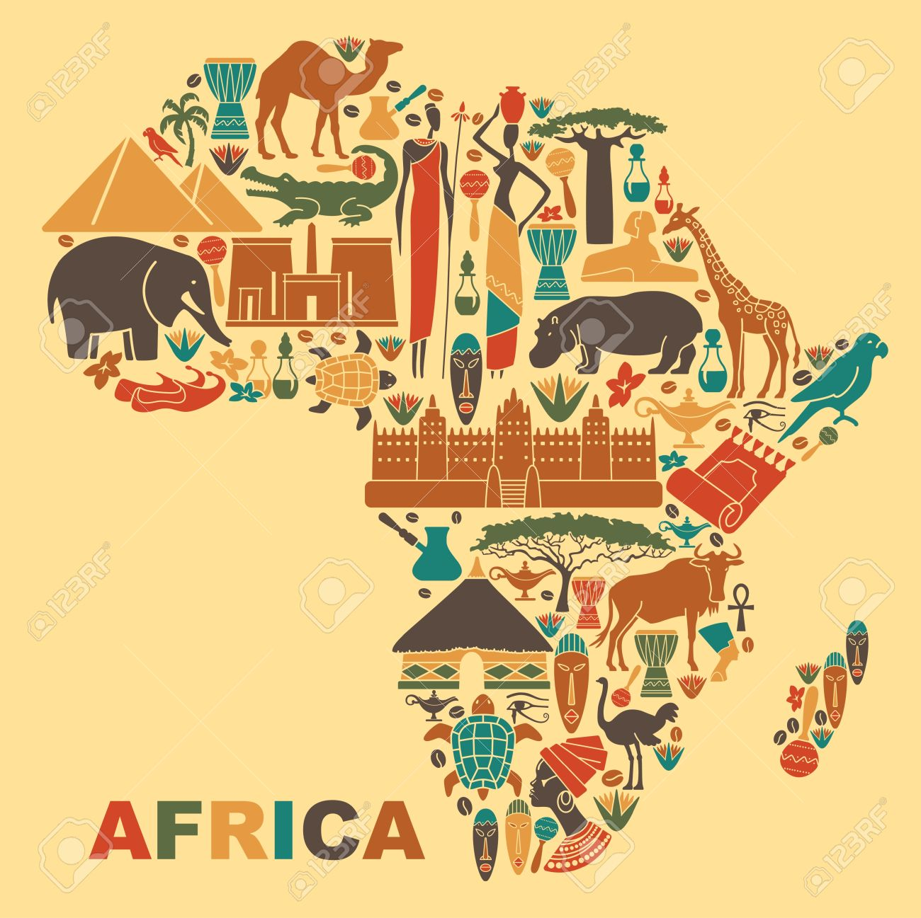 Symbols Of Nature, Culture And Architecture Of Africa In The