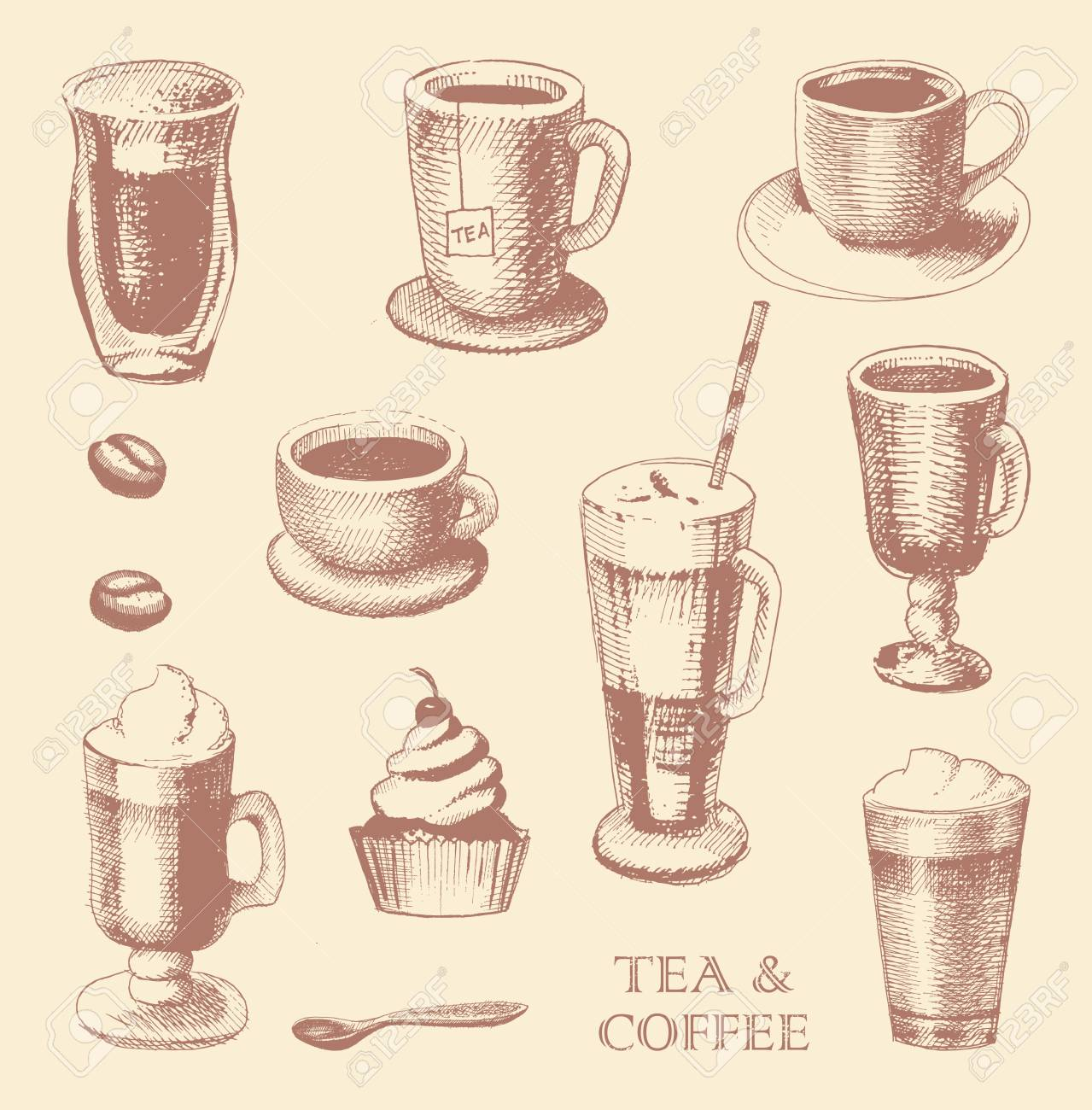 Set Of Coffe And Tea Mugs Vector Drawing Sketch Style Royalty Free Cliparts Vectors And Stock Illustration Image 68871496