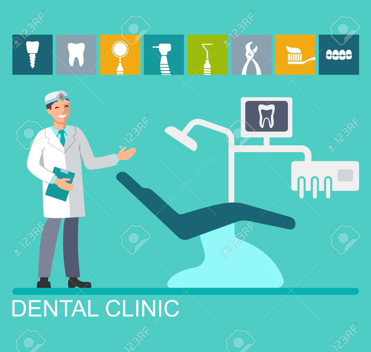 Flat Dentist Office Background Vector Illustration Colorful