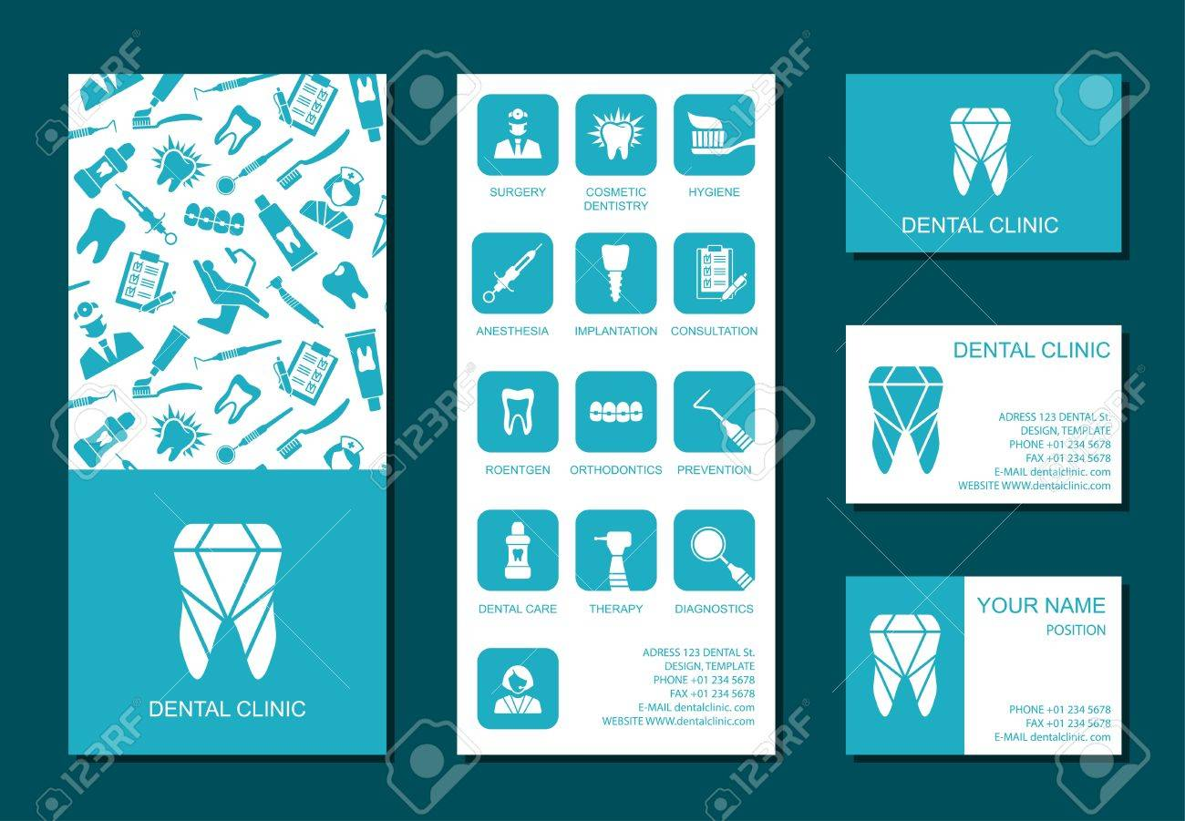 Set Of Flyerand Business Cards For Dental Clinic. Set Of Promotional ...