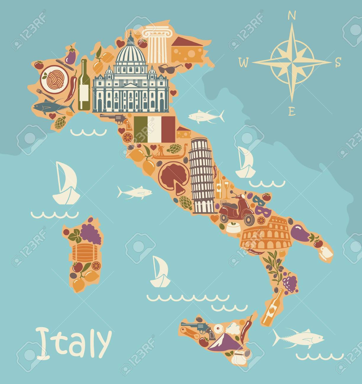 Stylized Map Of Italy With Historical Symbols Of Italian Cuisine
