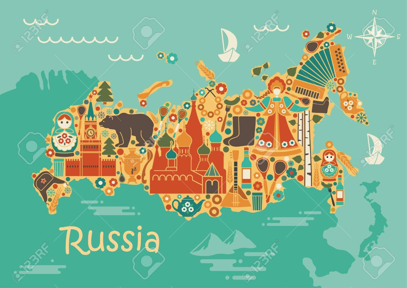 Russian Map Of Russia.A Stylized Map Of Russia With Traditional Russian Symbols Royalty