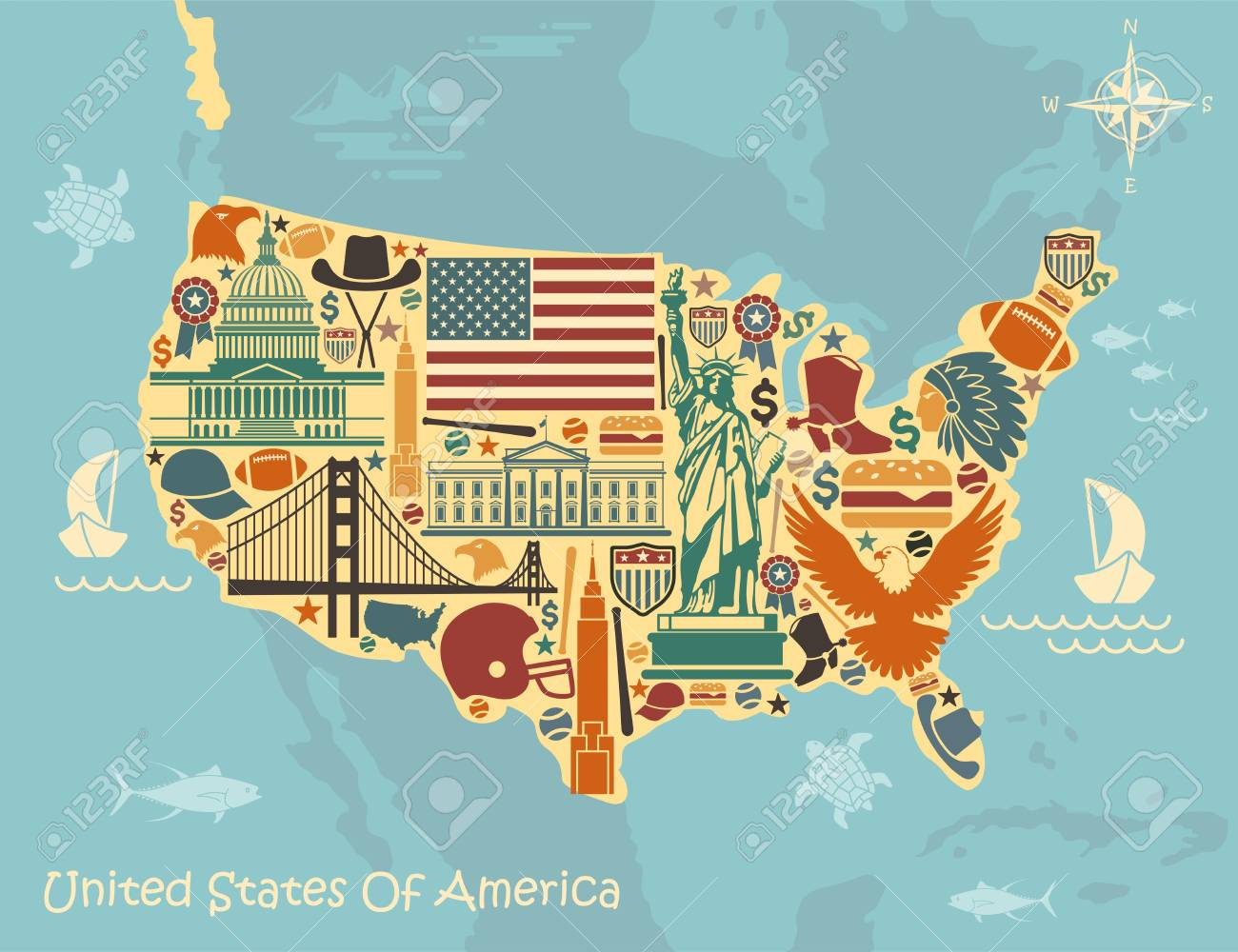 A Picture Of The Map Of The United States.Stylized Map Of The United States With American Symbols