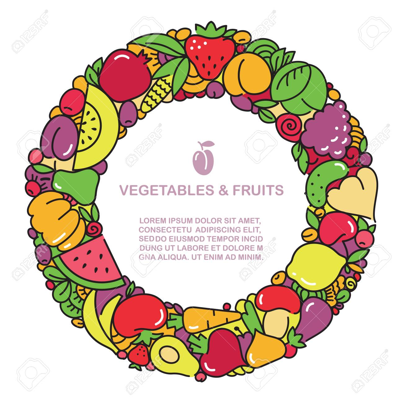 Fun Image Of Vegetables And Fruit In The Form Of Frames With ...