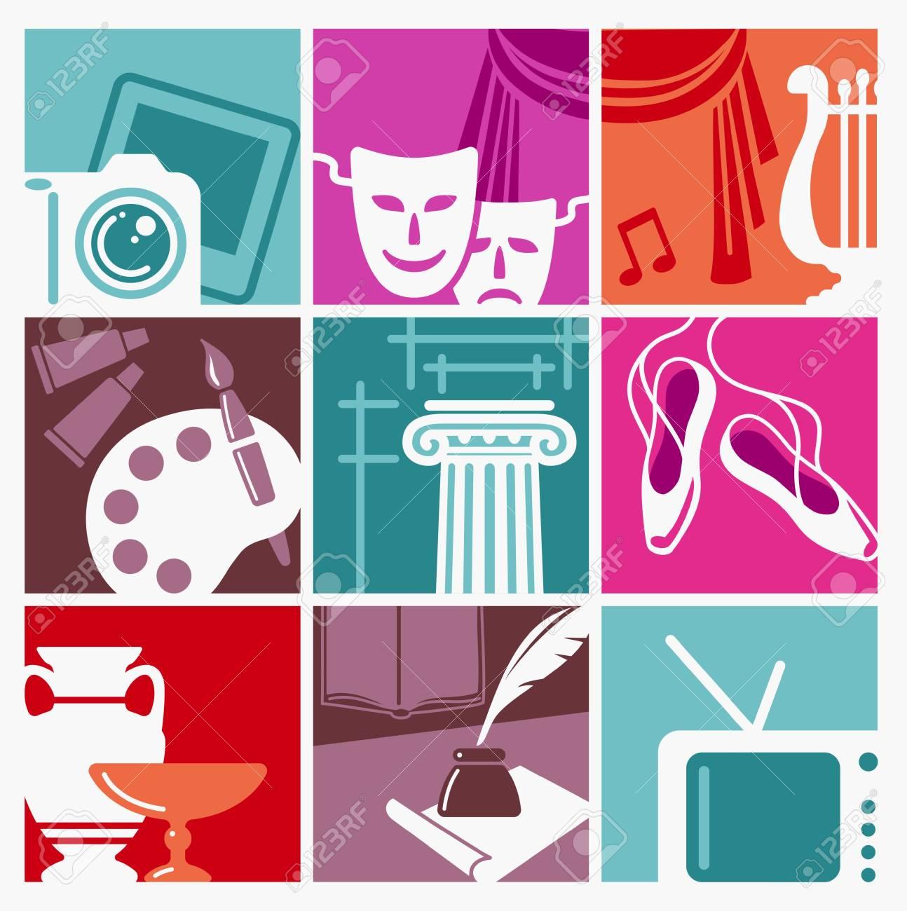 Símbolos De Varias Formas De Arte Y Entretenimiento Ilustración Vectorial. Ilustraciones Vectoriales, Clip Art Vectorizado Libre De Derechos. Image 87624081.