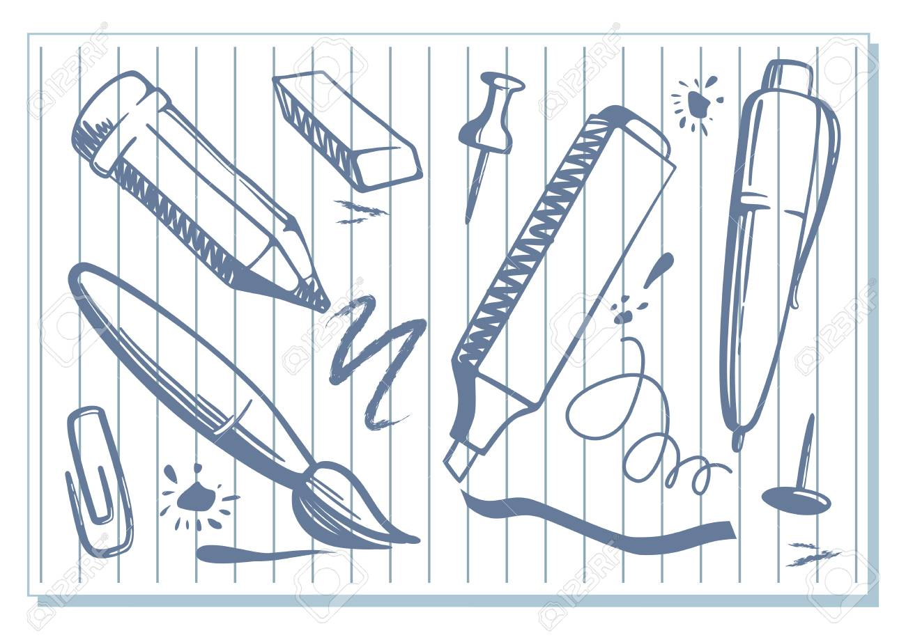 Sketches of a stationery tools such as pen and marker on a sheet