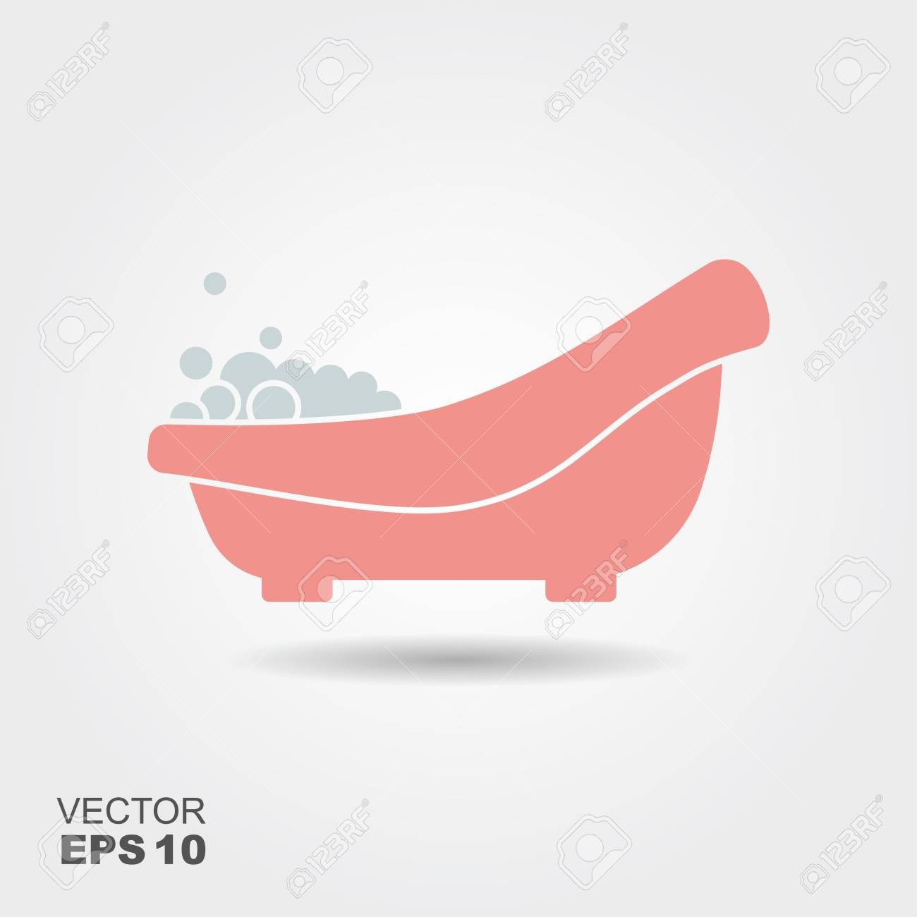 Pink Baby Bath With Foam. Flat Icon Royalty Free Cliparts, Vectors ...