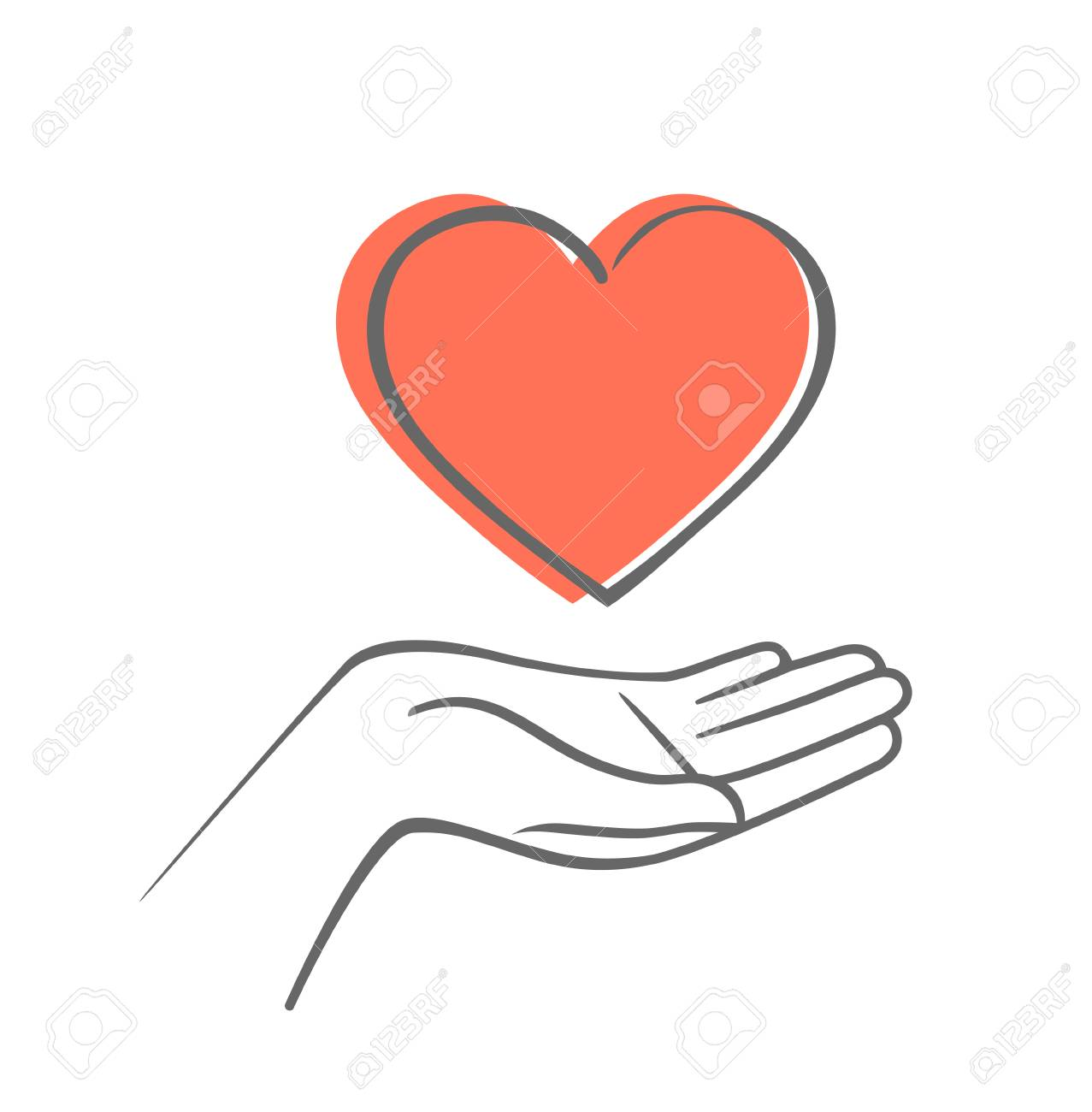Hand Holding Heart Shape Hand Draw Vector Icon Royalty Free
