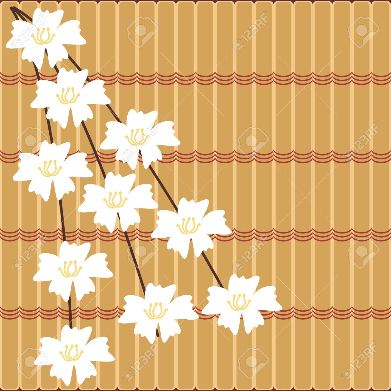 Japanese Style japanese style background with cherry flowers royalty free