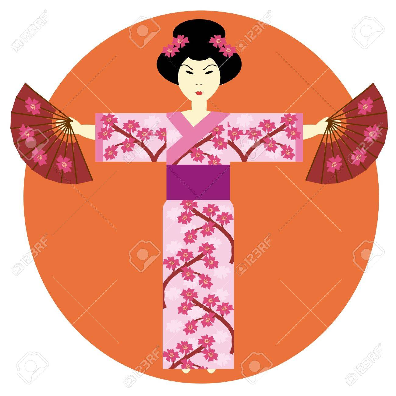 japanese girl with fans Stock Vector - 10297487