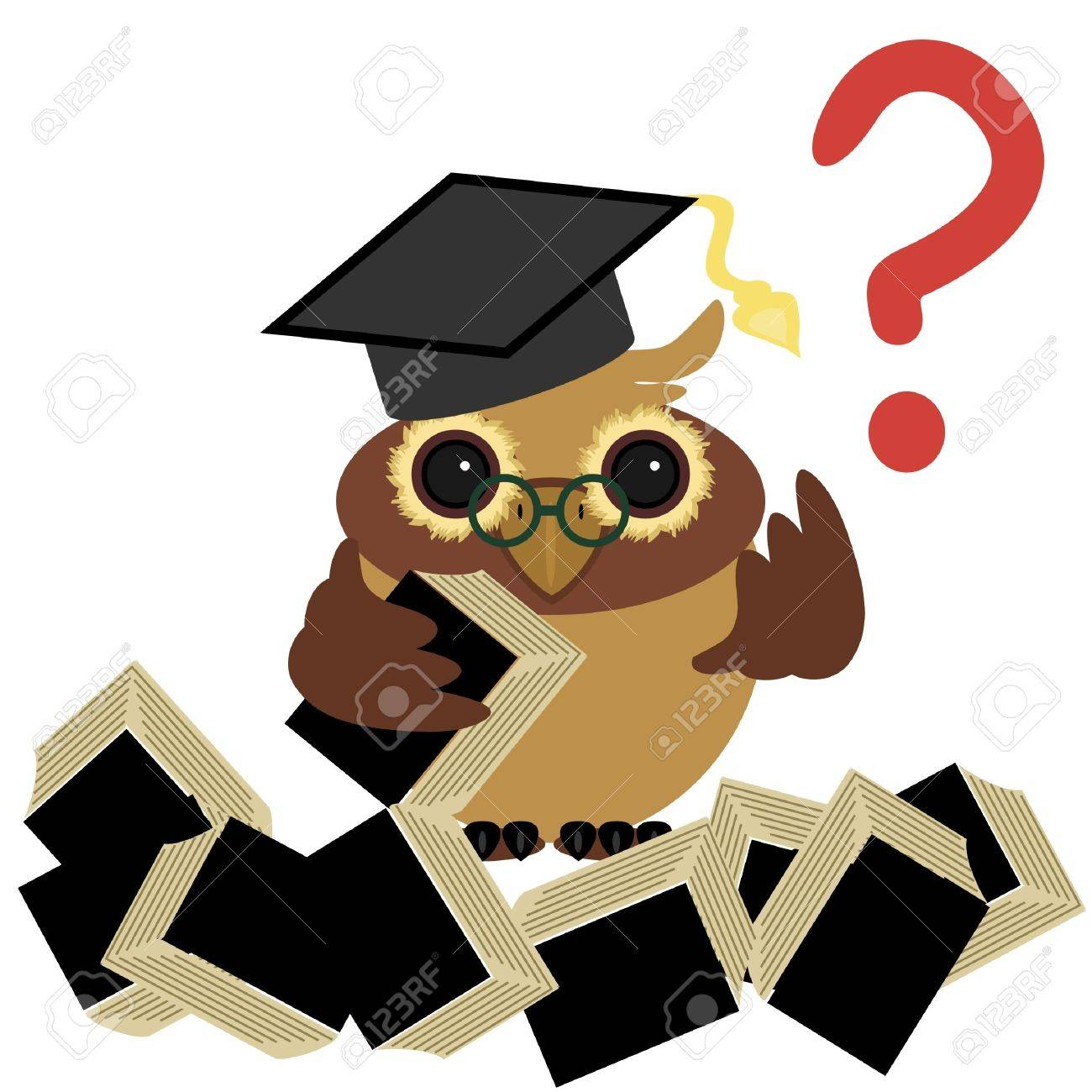 Clever Owl With Books Royalty Free Cliparts, Vectors, And Stock ...
