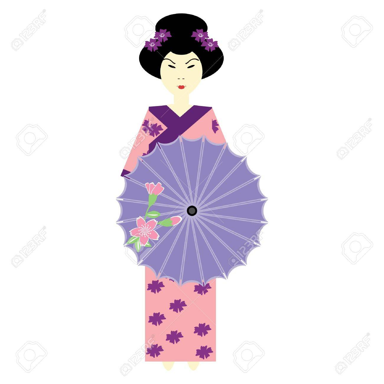 japanese girl with umbrella Stock Vector - 11835170