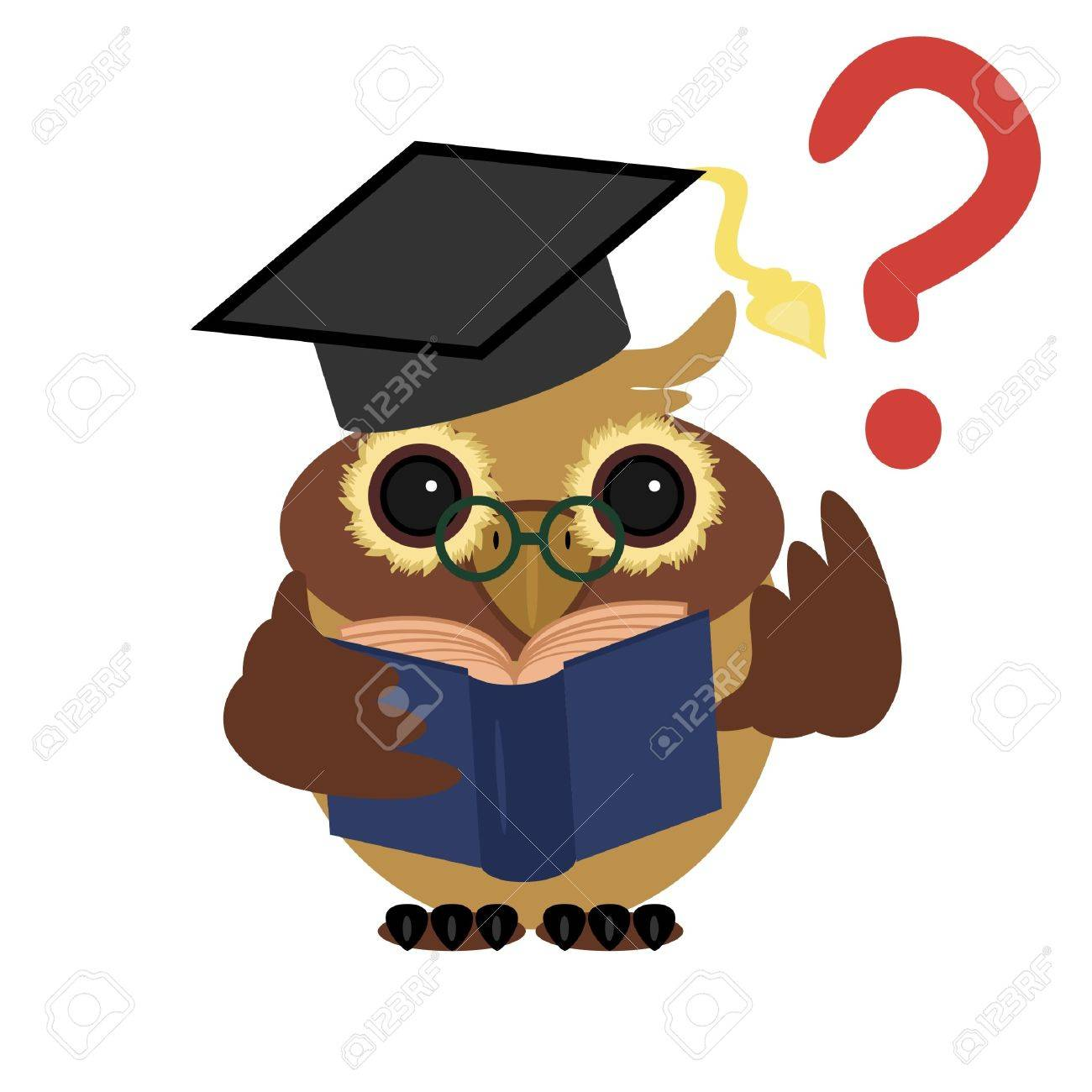clever owl with book Stock Vector - 11886035