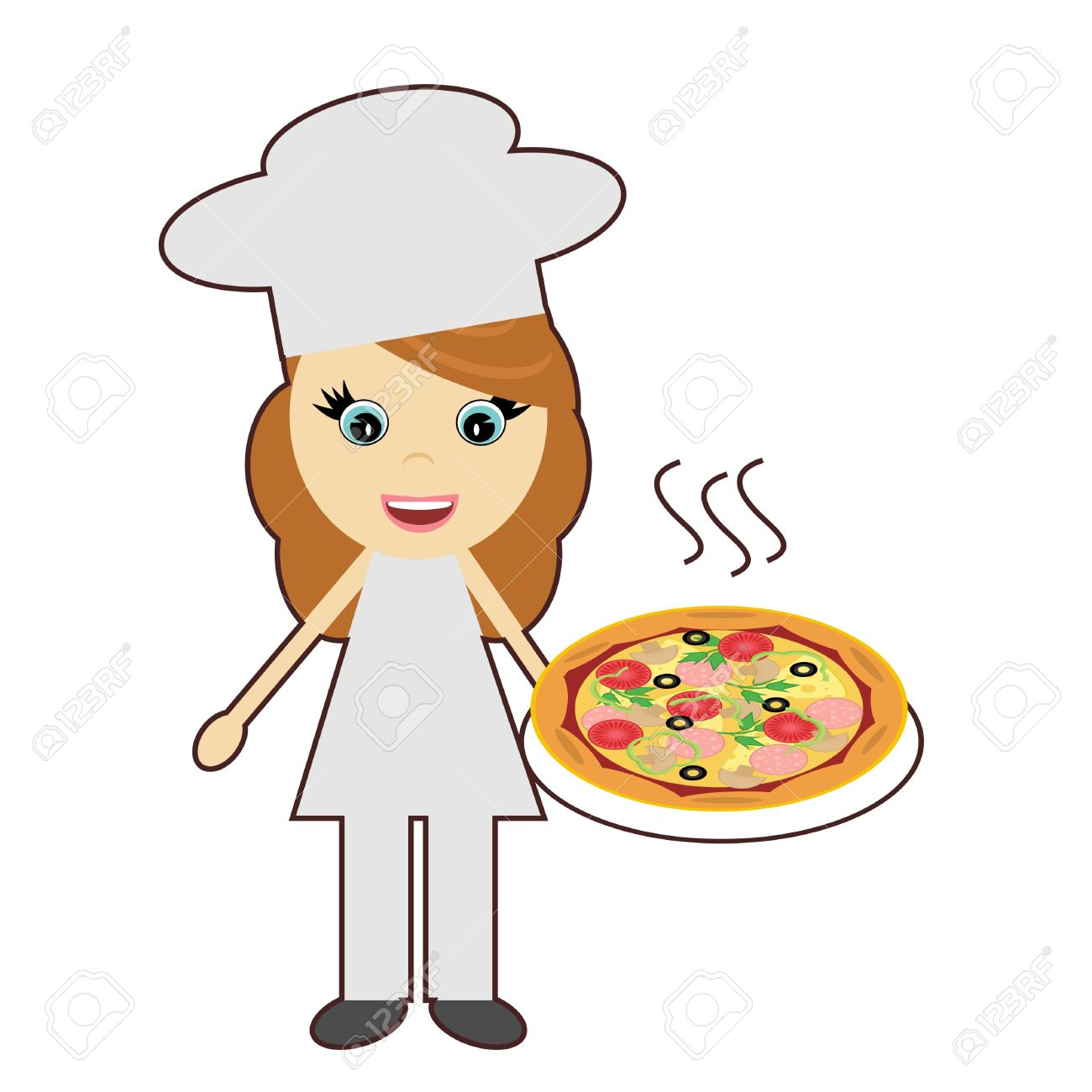 female chef with pizza on white background royalty free cliparts rh 123rf com cartoon female chef clipart black female chef clipart