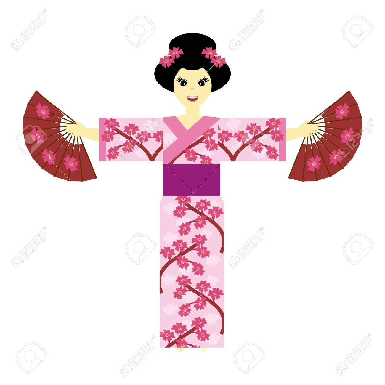 japanese girl on white background Stock Vector - 12364643