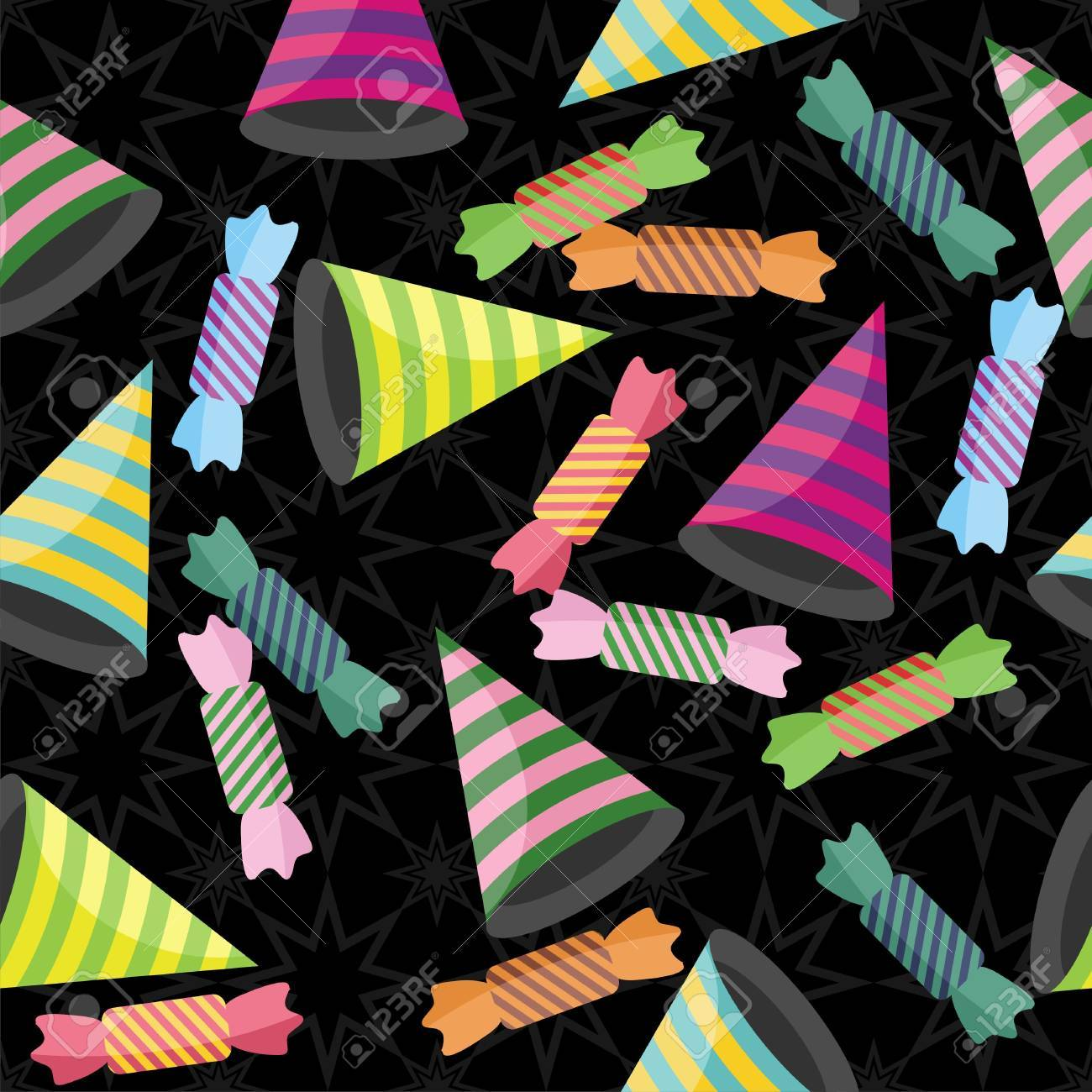 seamless background with stripe hats, candies and confetti Stock Vector - 12364913