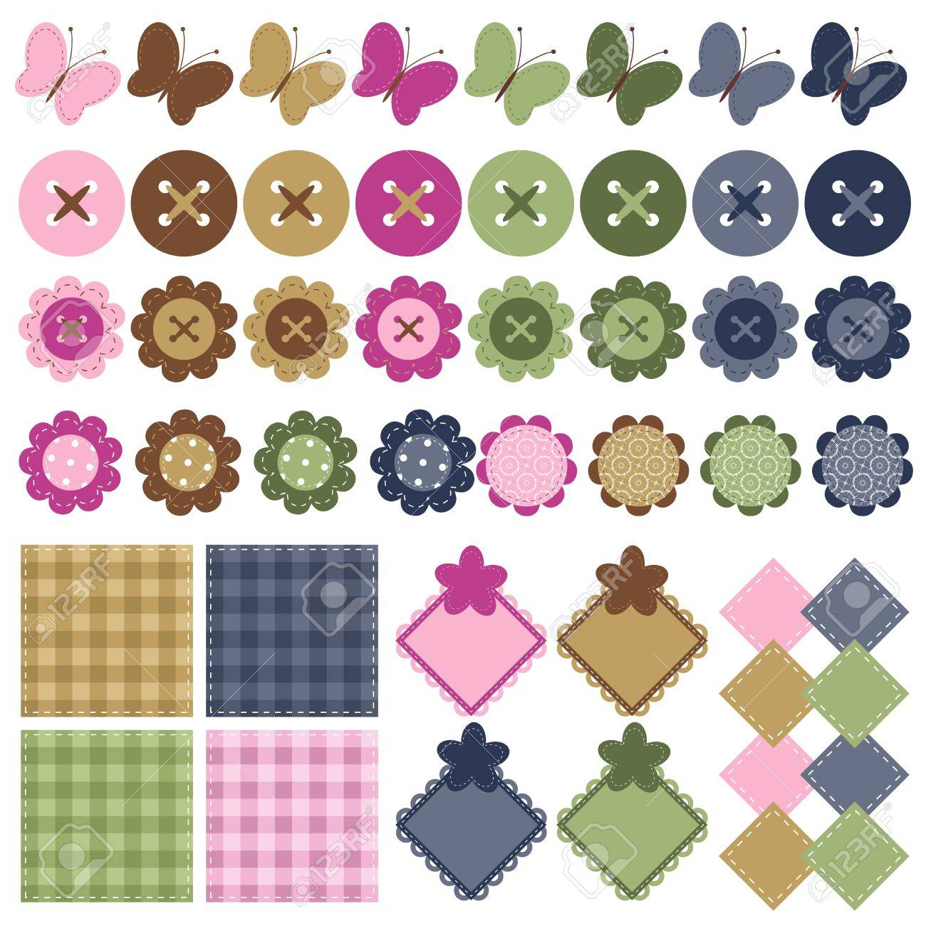scrapbook objects with lace on white background Stock Vector - 13367676