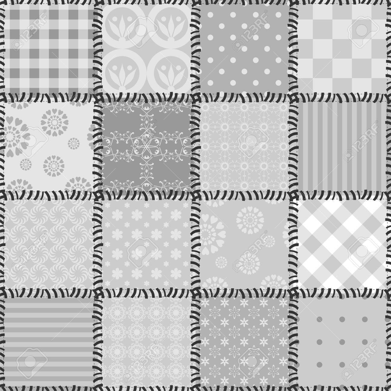 patchwork background with different patterns Stock Vector - 13944048