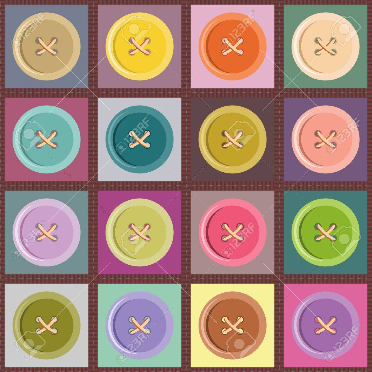 patchwork background with buttons Stock Vector - 14324638