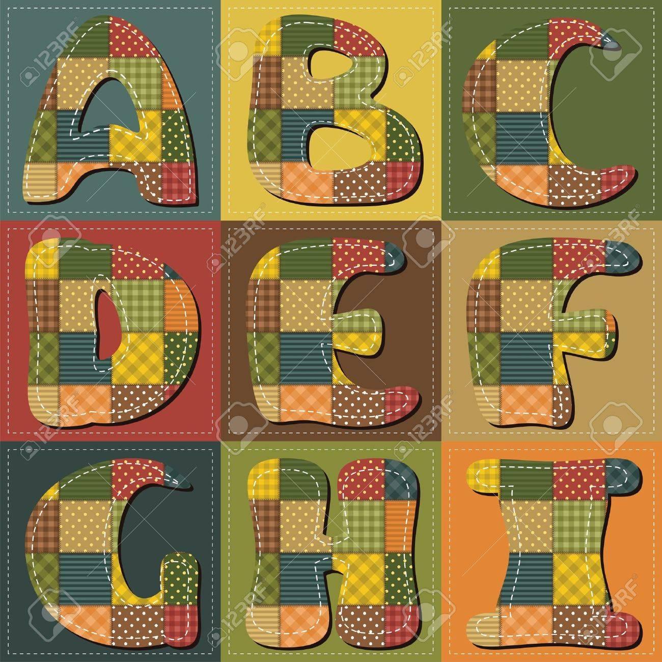 patchwork scrapbook alphabet part 1 Stock Vector - 15627223