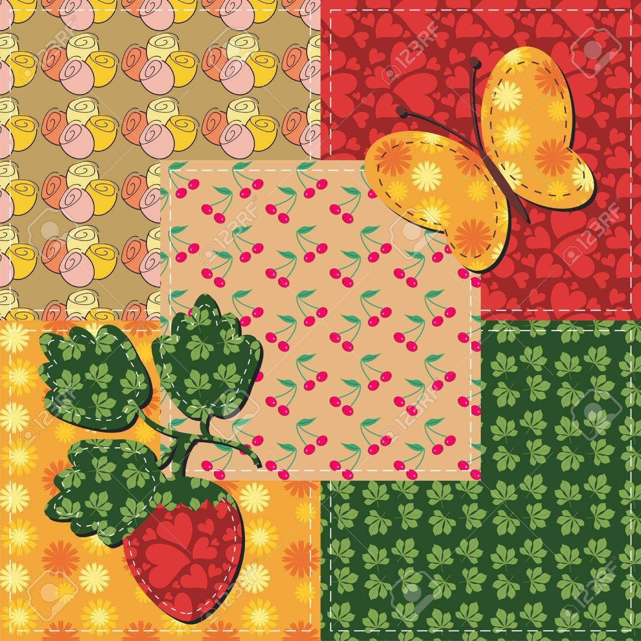 patchwork and scrapbook illustration Stock Vector - 15983406
